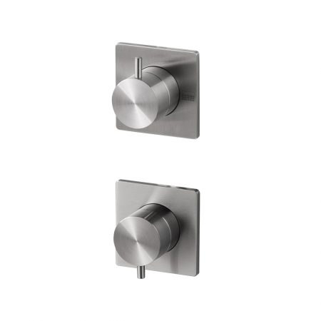 Manual Valve 2 Outlet - Brushed Steel