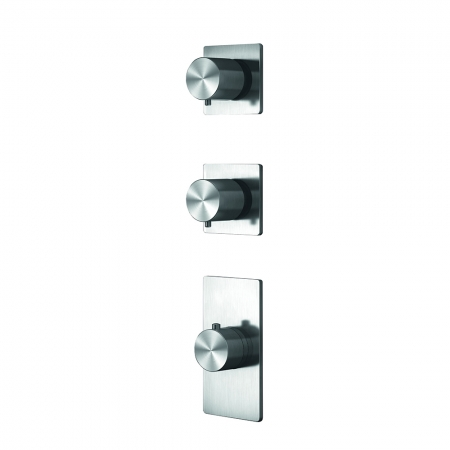 Grand Porta Thermo Valve 2 Outlet - Brushed Steel