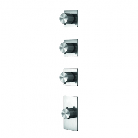 Grand Porta Thermo Valve 3 Outlet - Brushed Steel