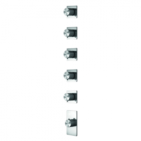 Grand Porta Thermo Valve 5 Outlet - Brushed Steel
