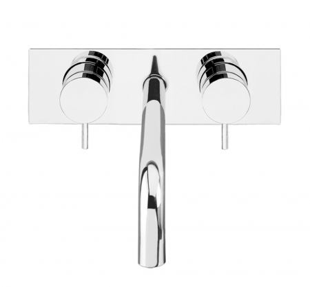 Basin 3 hole wall mixer with backplate