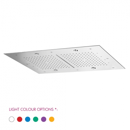 SKYFALL CHROMOTHERAPY Flush fitting ceiling mount rectangular shower plate