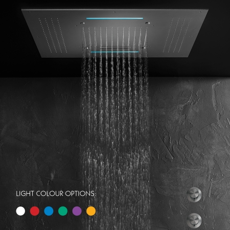 SKYFALL CHROMOTHERAPY Flush fitting ceiling mount square shower plate