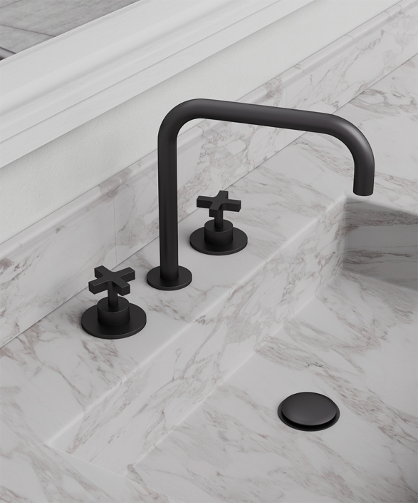 Cruz 3 Hole Basin Mixer Matt Black