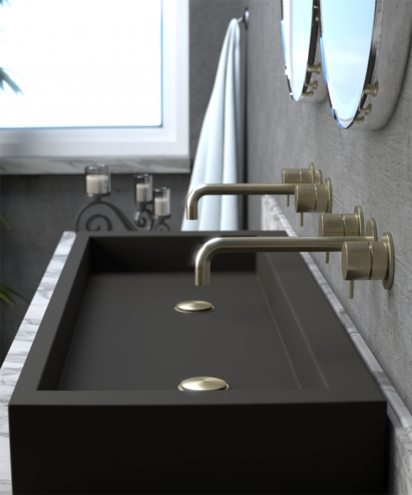 Flow Brushed Brass 2 Hole Basin Mixer