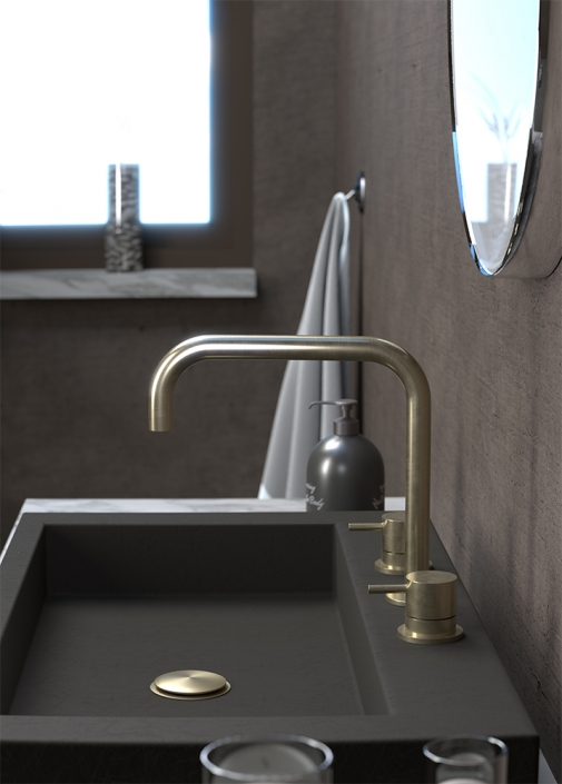 Flow Brushed Brass 3 Hole Basin Mixer