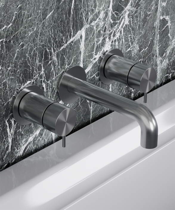 Flow Brushed Steel 3 Hole Bath Mixer