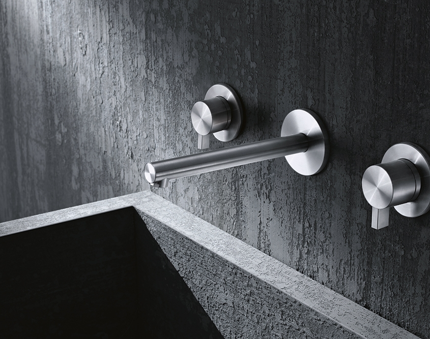Toox 3 Hole Wall Basin Mixer Brushed Steel